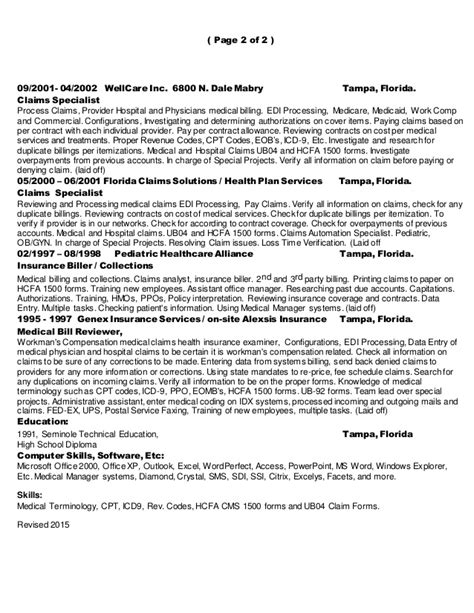 Claims Billing Specialist Resume by 2015 Resume