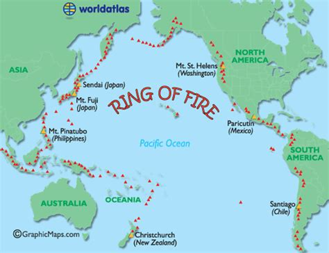 ring  fire map major world volcanoes active world