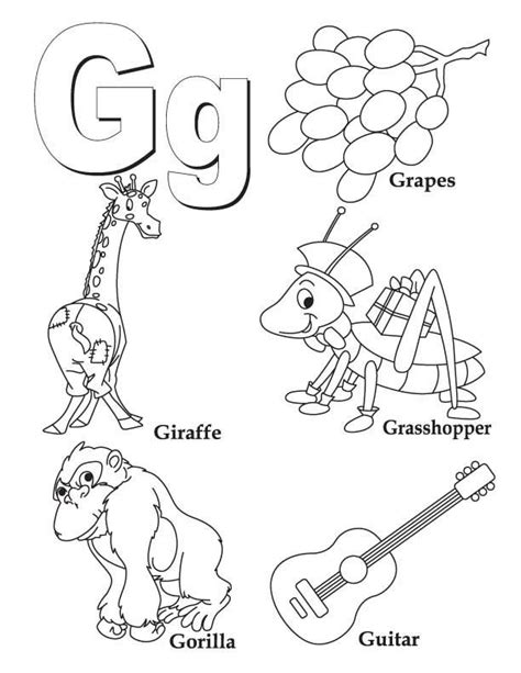 Coloring Letter G by My A To Z Coloring Book Letter G Coloring Page