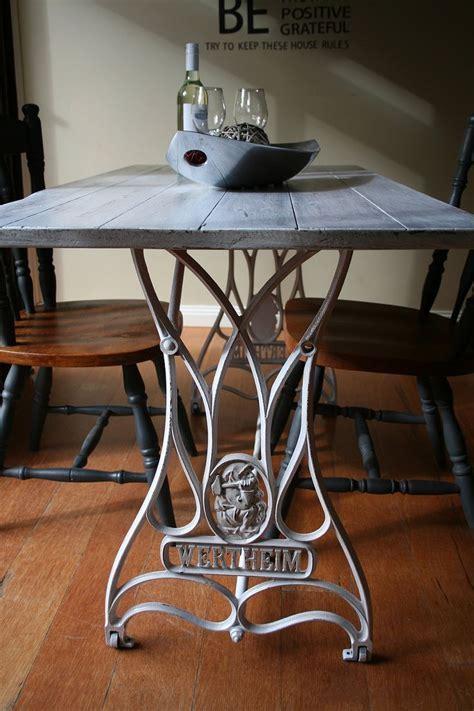 Vintage Wertheim sewing machine transformed into a dining