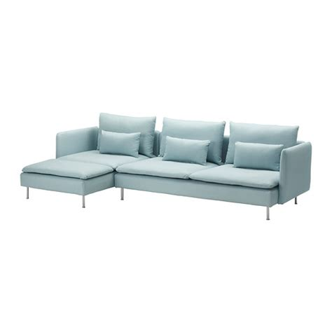 s 214 derhamn sofa and chaise lounge isefall light turquoise