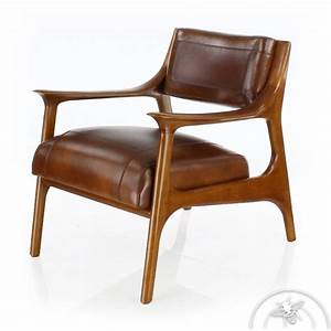 Fauteuil design scandinave cuir marron ferdinand ebay for Fauteuil cuir design scandinave