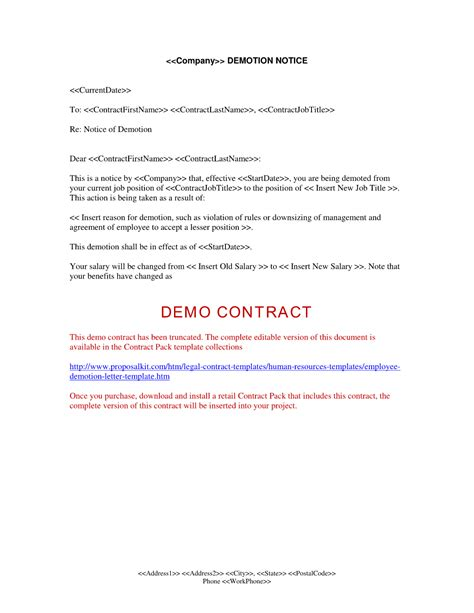 Letter Template by Demotion Letter Template Free Printable Documents