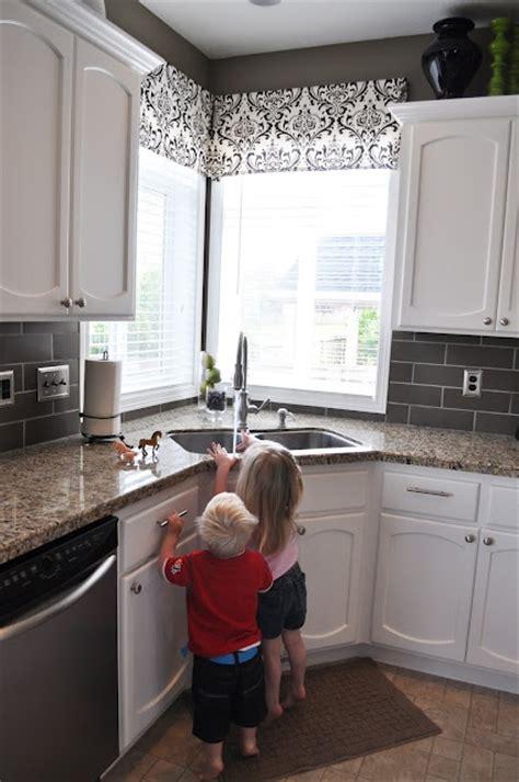 kitchen corner window valance window treatments