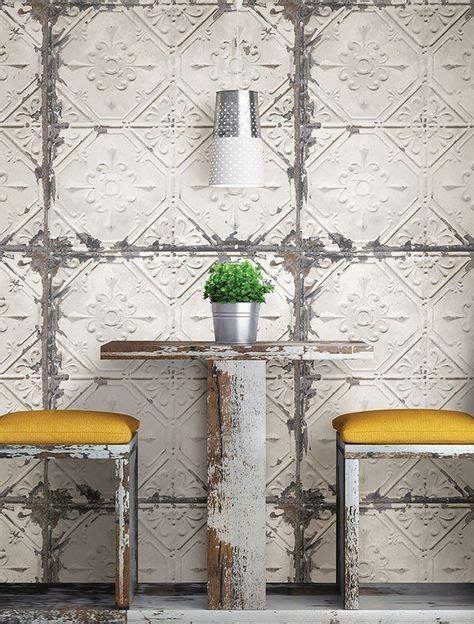 vintage tin tile peel  stick wallpaper cottage style