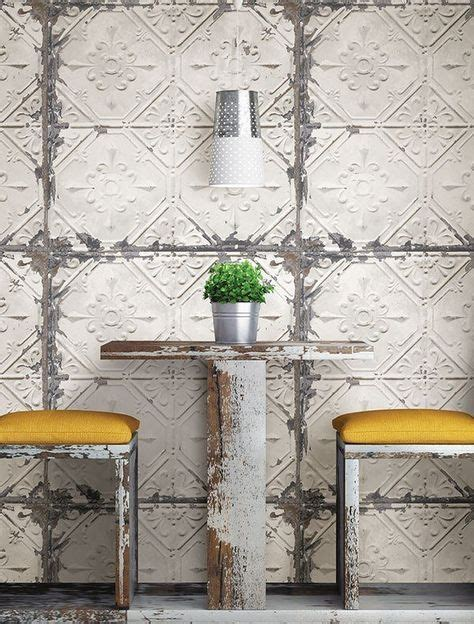 This tin ceiling tile wallpaper will add an antique charm