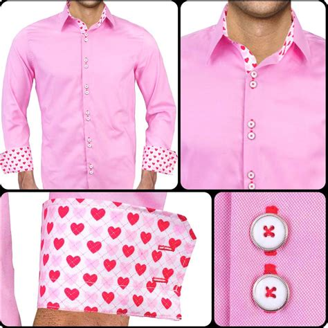 themed shirts mens pink valentines day dress shirts