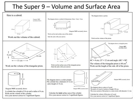 Volume And Surface Area Of Prisms By Mremaths  Teaching Resources Tes