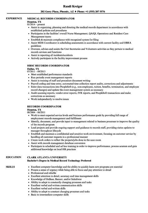 Records Resume by Records Coordinator Resume Sles Velvet