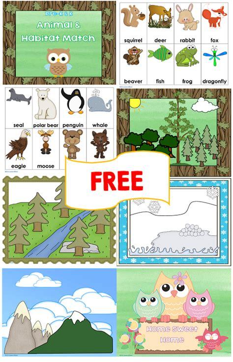 animal and habitat match free printables 2 versions