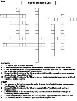 The Progressive Era Worksheet Crossword Puzzle By Science