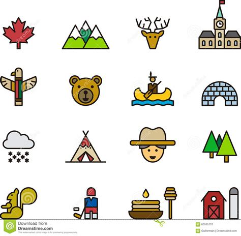 pole building icons and symbols of canada stock photo image 60585701