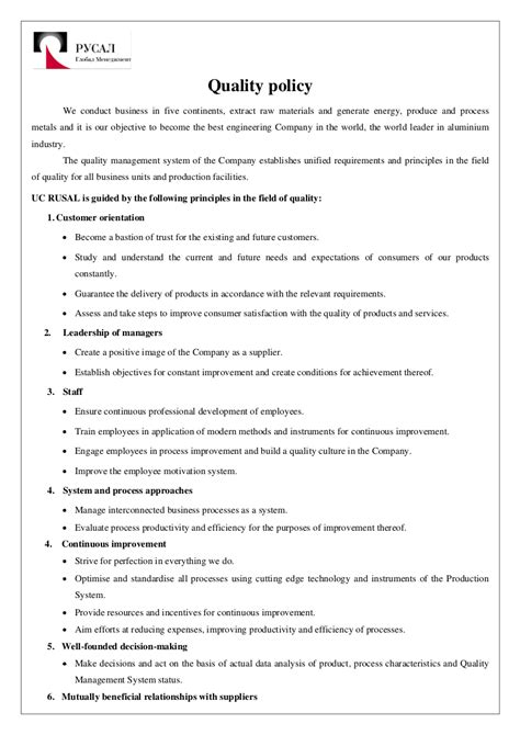 examples  quality policy   google docs