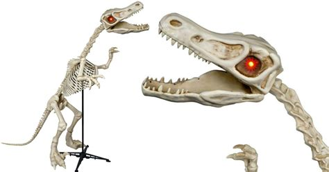 walmart  ft tall skeleton raptor  led illuminated eyes  reg