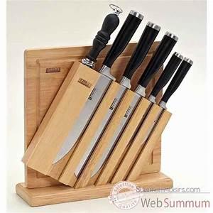 Couteau à Bois : bloc bois de 6 couteaux avec planche d couper dans bloc ~ Edinachiropracticcenter.com Idées de Décoration