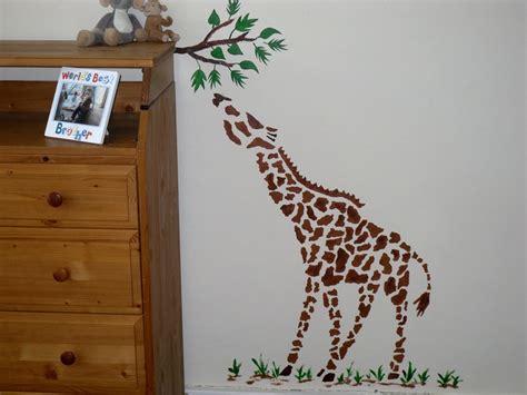 large giraffe wall stencil childrens bedroom decor nursery