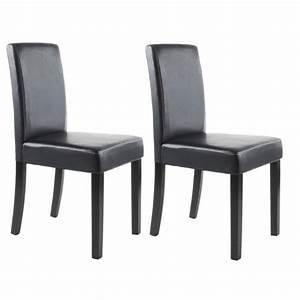 Clara lot de 2 chaises de salle a manger en simili noir for Meuble salle À manger avec chaise cuisine noire