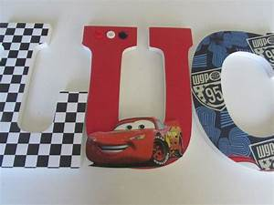 9quot inches disney cars name wood letters personalized With kids bedroom letters