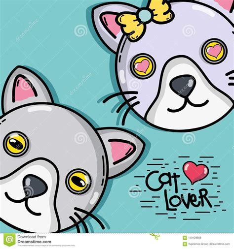 Infinidraw universal svg drawing with pan and zoom. Cute Cat Couple Animal Design Stock Vector - Illustration ...