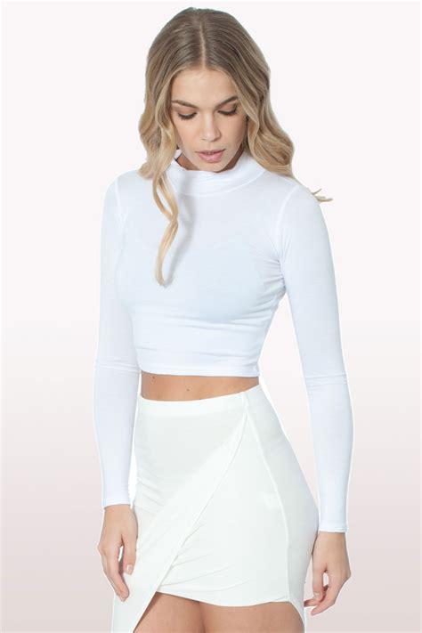 White Polo Neck Crop Top | Clothing | Tops | Modamore