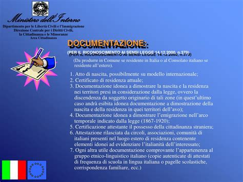Www Ministero Dell Interno It Cittadinanza Ppt La Cittadinanza Italiana Powerpoint Presentation