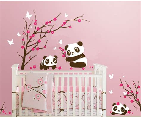 stickers pour chambre bébé fille 6 panda in cherry blossom nursery wall decals removable