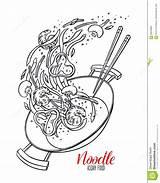 Wok Pan Sketch Chinese Noodles Drawn sketch template