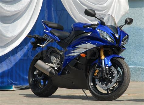Modern Sports Motorcycle Of Dark Blue Color