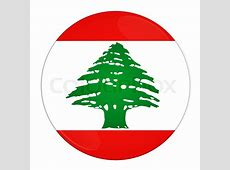 Abstract illustration button with flag from Lebanon