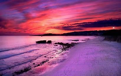 Sunset Beach Scenery Pink Sand Summer Amazing