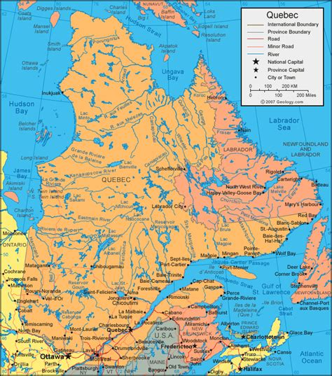 Quebec Map Satellite Image Roads Lakes Rivers Cities