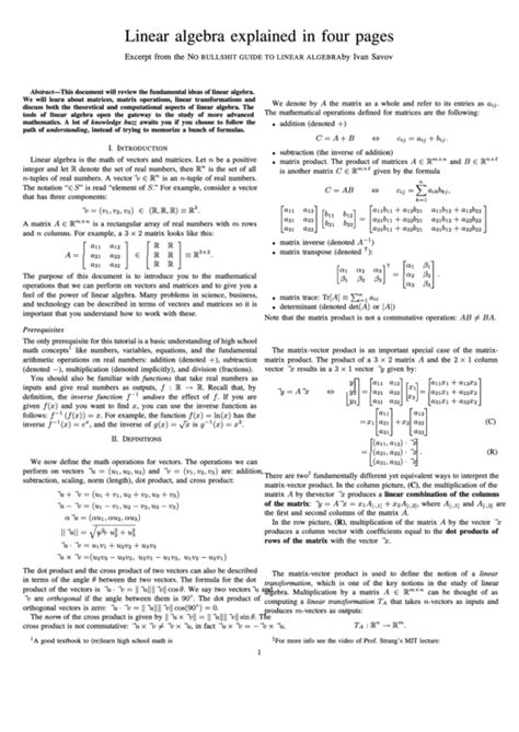 Linear Algebra Explained In Four Pages printable pdf download