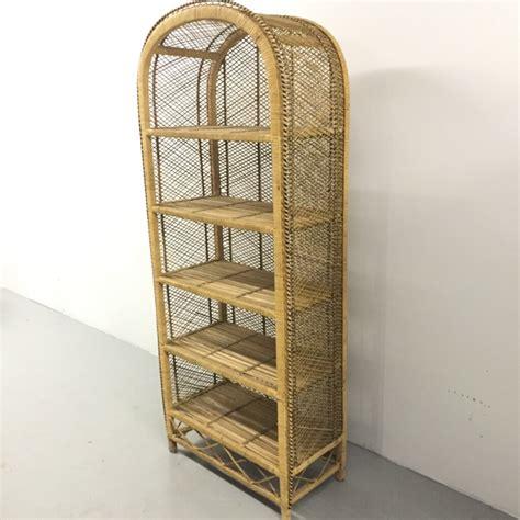Southwestern Woven Wicker Bookcase Dome Top 5 Shelf Rattan