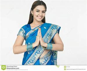 Woman welcoming stock image. Image of blue, hands ...