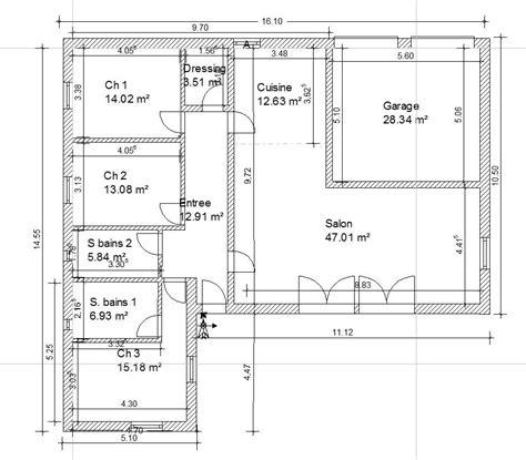 plan maison 6 chambres plain pied plan maison 110m2 plain pied