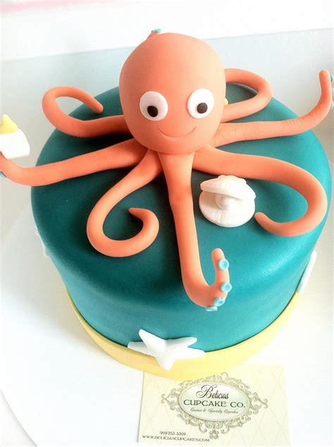 quot a quot cake topper fondant octopus cake topper oyster shell pearl quot