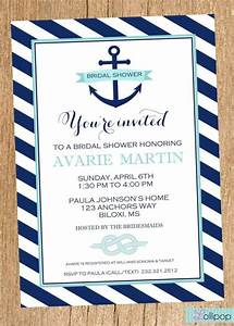 anchor nautical bridal shower printable party invitation With nautical wedding shower
