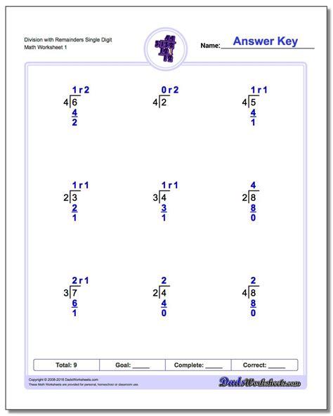 single digits division math worksheet division worksheets