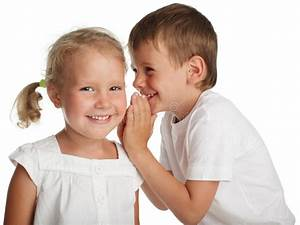Kids whispers a secret stock photo. Image of listening ...