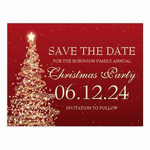 Elegant Save The Date Christmas Party Red Post Cards