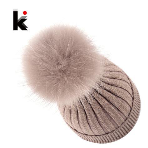 cat ear beret fur pompom knit wool winter hat beanie bonnet