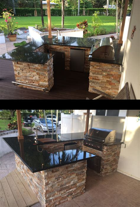custom outdoor kitchen and eagles bar wrap around