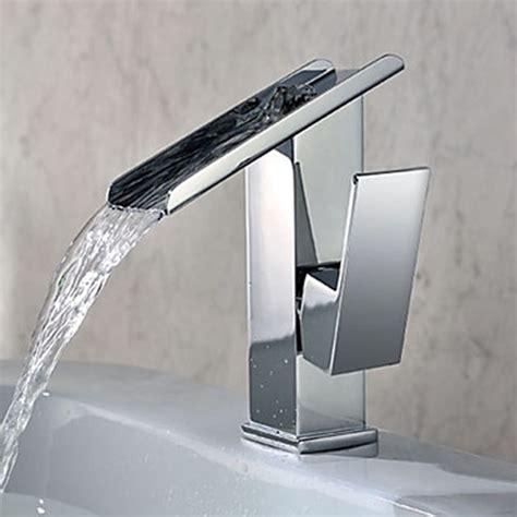 Single Handle Contemporary Solid Brass Waterfall Bathroom