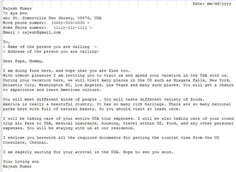 sample invitation letter  visitor visa  parents