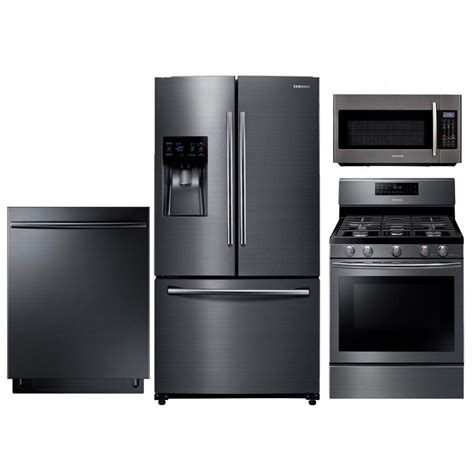 Samsung Gas Kitchen Appliance Package  Black Stainless