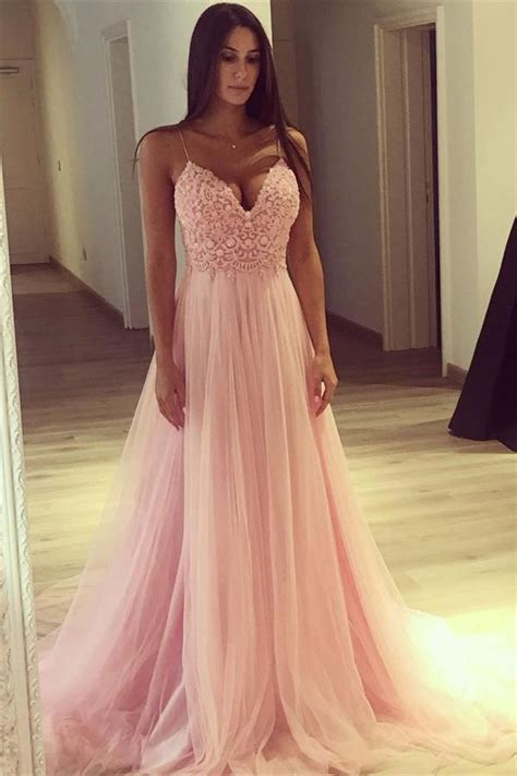 Spaghetti Straps Long A-line Pink Lace Tulle Simple Cheap ...