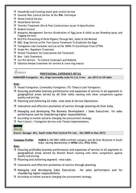 Pest Supervisor Resume pest fumi shiva resume
