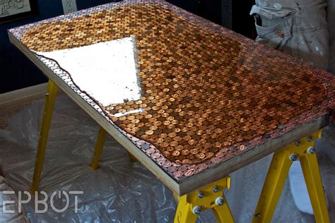 poured epoxy floor diy amazing diy table made from pennies diply