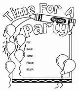 Birthday Coloring Party Pages Invitations Invitation Crayola Cards Own Drawing Printable Happy Templates Activity Invite Card Template Colorable Word Printables sketch template