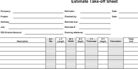 Quantity-take-off Sheets